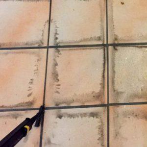 Bodenplatten Reinigung Micro Cleaner Trockendampf